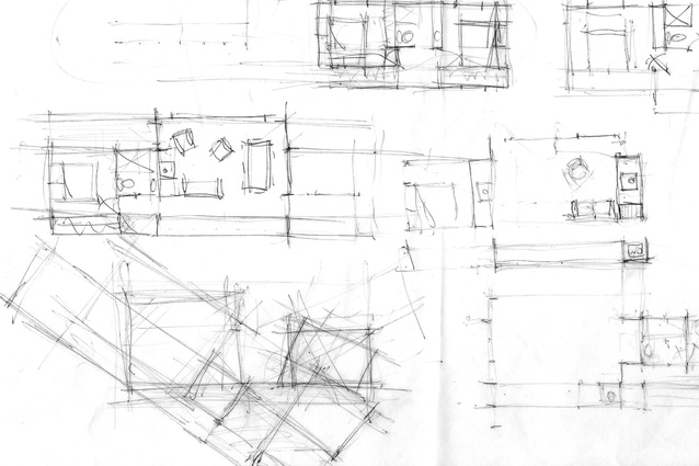 """Example of one of Beth's concept sketches. She says, """"Fundamental to the conception of every project is a stack of butter paper and a good pencil."""""""