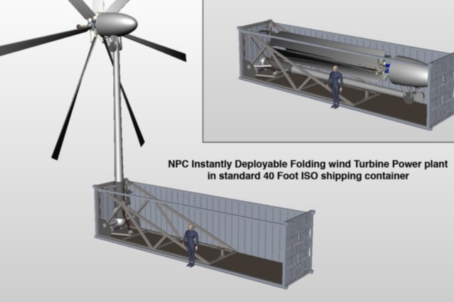 A containerised folding wind turbine, being developed under licence by Oshkosh Defense.