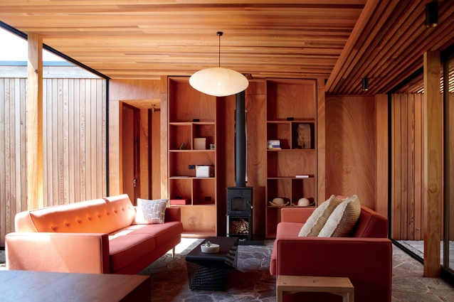 Timber and stone  feature predominantly both inside and out; another nod to the indoor-outdoor nature of the structure.