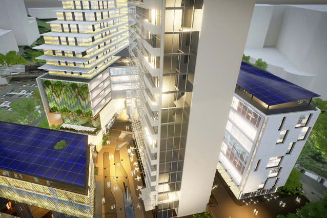 Aerial view render of the proposed Civic Quarter.