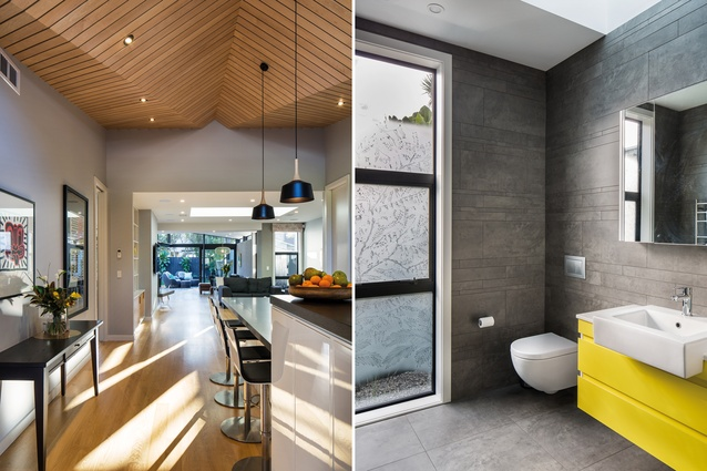 The angular maple-wood ceiling lends a visual warmth to the central living zone of the house; the bathroom features one of John Mills' frosted glass artworks.