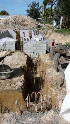 The start of the strip footings for the Living House MHU.
