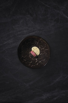 Golden kumara with salted cherry blossoms and barley. Constellation Bowl by <a 