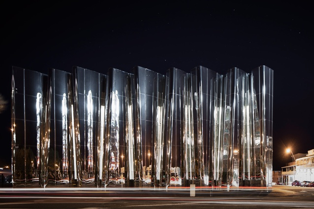 At night the Centre's façade is activated by light - natural and otherwise - much like the artist's work is activated by movement and energy.