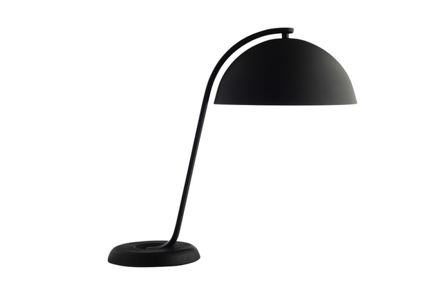 "The <a href=""http://www.corporateculture.co.nz/shop/cloche"" target=""_blank""><u>Cloche table lamp</u></a> by Wrong for Hay features a black powder coated arm and off-set cast iron base that create a striking visual imbalance."