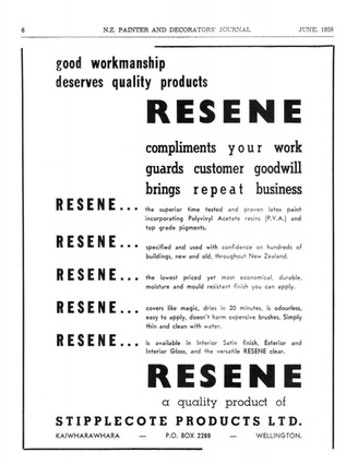 """An advert from 1958, where the brief to the art department was: """"Just be sure it mentions Resene""""."""