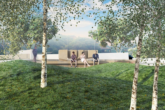 Winning entry <em>Le Calligramme</em> by architect Andrew Patterson, artist Paul Baragwanath and landscape designer Suzanne Turley.