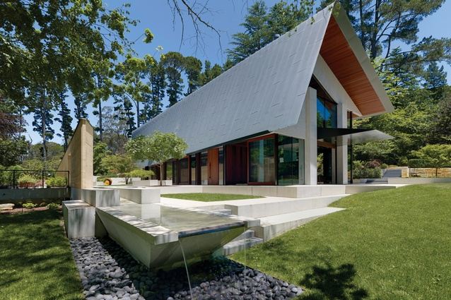 """The house can be viewed as an extension of the platforms or green, furtive """"landscaped rooms"""" on the site."""