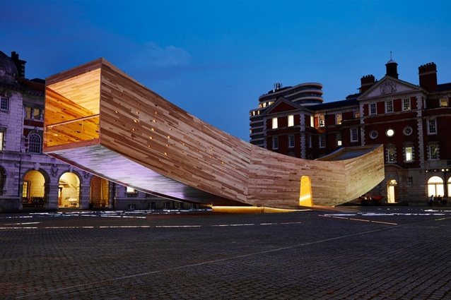 """The Smile by Alison Brooks for the London Design Festival. An innovative and complex use of cross-laminated tulipwood, the 34-metre-long structure is an inhabitable """"mega-tube""""."""