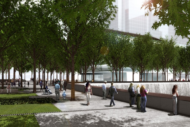 Trees shade the plaza overlooking the reflecting pools.