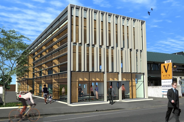 """Completion date – December 2012. 134 Victoria Street by Shepard & Rout Architects. This retail and office project will be the first in the world to use an innovative post-tensioned timber frame system developed in Canterbury, which involves large cables that flex and shake in an earthquake before returning to their original form. <a href=""""http://architecturenow.co.nz/articles/seismic-design-in-wood/"""" target=""""_blank""""><u>Read more</u></a>"""