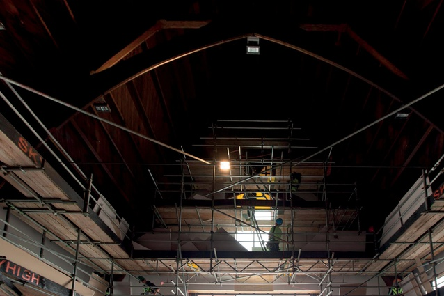 Parts of the original roof structure were retained.