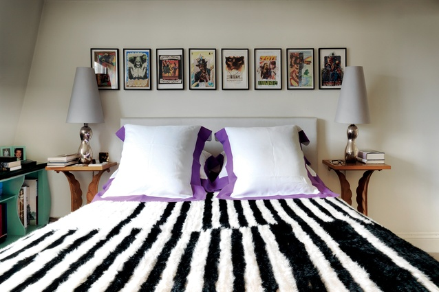 The bed cover was made by couture fabric maker Ulrika Liljedahl. Prints are by Andres Hofer.