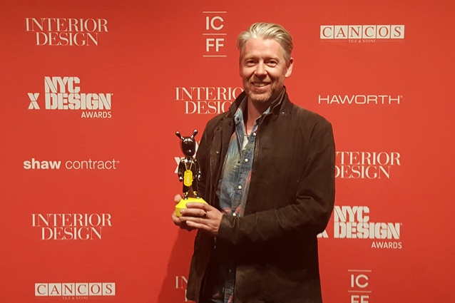 Inventor of Kaynemaile, Kayne Horsham, accepts the NYCxDesign Award for Best Architectural Product.