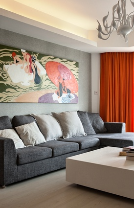 Patton's living room betrays her taste for art and design.