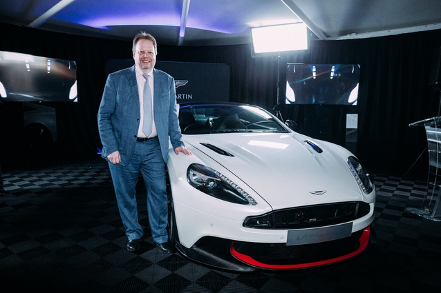 Dr Andy Palmer, CEO of Aston Martin, with the Aston Martin Vanquish S.