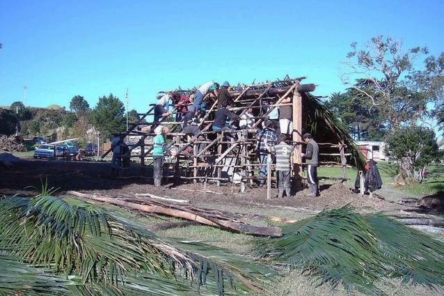 Nikau Whare in Kaipara Harbour, built by students in 2006 from Te Hononga, the Māori Architecture and Appropriate Technologies Centre at Unitec.