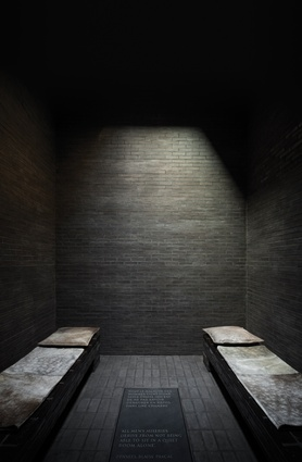 As a stark contrast to the pale colour palette there are also dark, contemplative spaces in which to retreat.