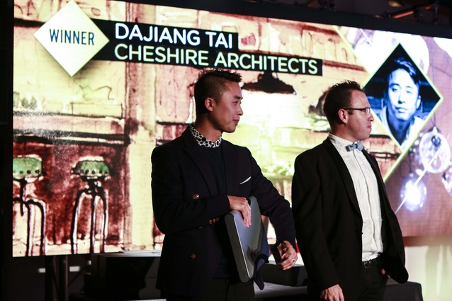 The designer receiving his award at the 2014 Interior Awards ceremony.