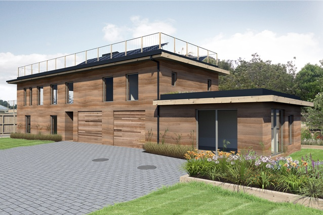Render of the exterior of the Living House, designed by Collingridge and Smith Architects. The house will boast several solar panels on the roof balustrading.