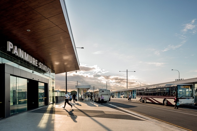 The entrance to the new AMETI bus interchange, which aims to reduce congestion, improve transport options and unlock the potential of the Mt Wellington area.