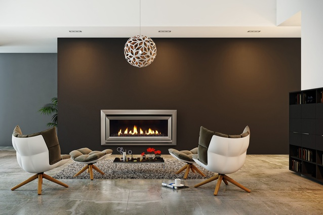 """<a href=""""http://www.escea.com/nz/fireplaces/indoor-fireplaces/dl-series/dl1100/"""" target=""""_blank""""><u>Escea's DL1100</u></a> is a 5- Star-efficiency gas-fuelled fireplace that can be remotely operated via any device connected to the internet."""