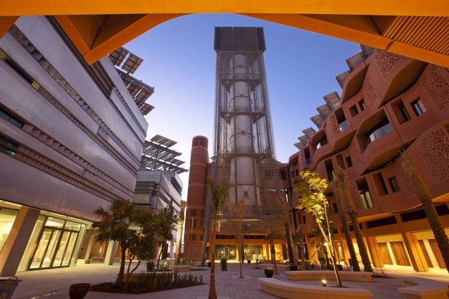 Masdar Institute campus, Abu Dhabi by Foster + Partners. A 10 megawatt solar field within the masterplan provides energy and what is left is fed back to the Abu Dhabi grid.