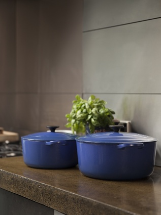 """Cooking pots: """"I received this set of La Creuset pots in Marseille Blue for my 21st birthday. They remind me of my childhood and the many meals prepared in similar pots."""""""
