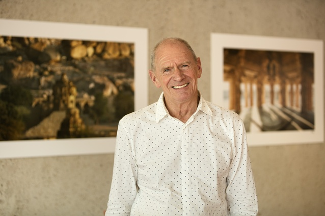 Photographer John Gollings in his Ancient Architecture of the Asia Pacific exhibition at the State Library of Queensland.