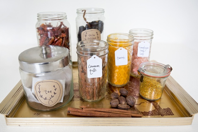 """Jars: """"I'm obsessed with decanting everything into jars. I always label jars with hand written brown paper labels."""""""