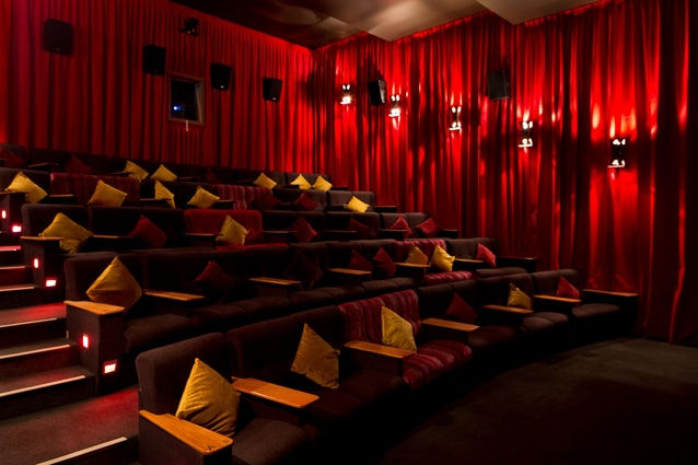 Cosy fabrics and rich colours used in one of the theatres.