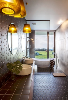 Functional design elements incorporated into DAA's bathroom designs include hexagonal tiles and glazed walls.