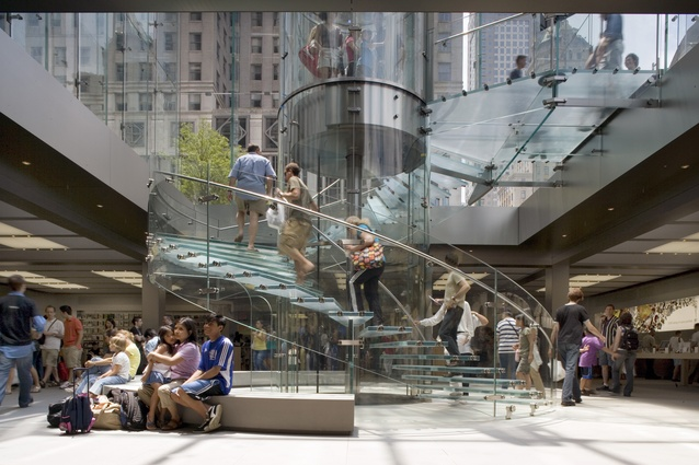 Apple Store, 5th Avenue, New York. Completed 2006. The project re-establishes the plaza and space below, a former unfulfilled public space, as an exceptional urban destination.