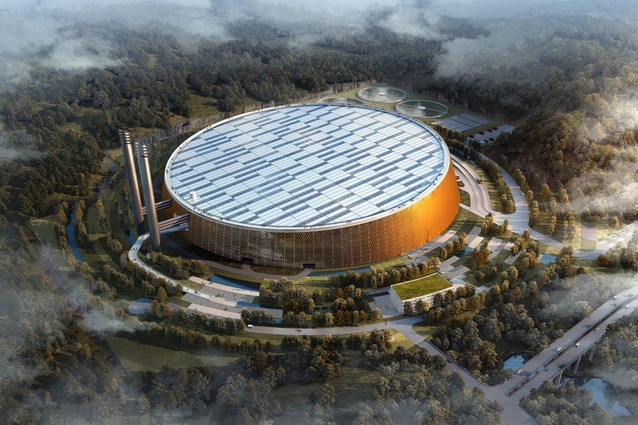 Future project: Shenzen Waste-to-Energy plant. If built, the huge circular building will boast a 66,000 sqm roof, two thirds of which will be covered with photovoltaic panels.