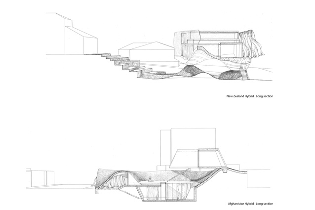 New Zealand Afghanistan hybrid houses — long section.
